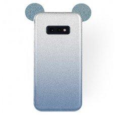 Samsung galaxy s10e dėklas Bling Mouse silikonas sidabrinis-mėlynas