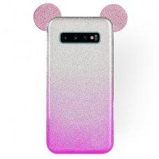 Samsung galaxy s10 dėklas Bling Mouse silikonas sidabrinis-rožinis