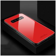 Samsung Galaxy s10e dėklas GLASS CASE raudonas
