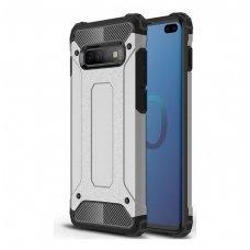 Samsung galaxy s10 dėklas Hybrid Armor  TPU+PC plastikas sidabrinis