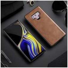 Samsung galaxy s10 dėklas X-Level Earl III pu oda ir tpu rudas