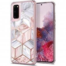 Samsung galaxy s20 aukštos kokybės dėklas Spigen Ciel Etoile Pink Marble