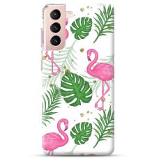 """Samsung Galaxy S21 TPU dėklas unikaliu dizainu 1.0 mm """"u-case Airskin Flamingos design"""""""