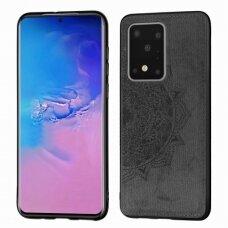Samsung galaxy s20 ultra dėklas Mandala TPU+ medžiaginis pluoštas juodas