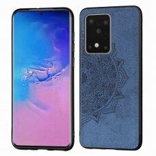 Samsung galaxy s20 ultra dėklas Mandala TPU+ medžiaginis pluoštas mėlynas