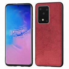 Samsung galaxy s20 ultra dėklas Mandala TPU+ medžiaginis pluoštas raudonas