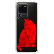 """Samsung Galaxy S20 ultra TPU dėklas unikaliu dizainu 1.0 mm """"u-case Airskin Red Cat design"""""""