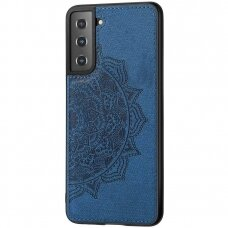 samsung galaxy s21 dėklas Mandala TPU+ medžiaginis pluoštas mėlynas