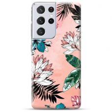 "Samsung Galaxy S21 Ultra TPU dėklas unikaliu dizainu 1.0 mm ""u-case Airskin Flowers 1 design"""