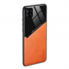 Samsung Galaxy A22 5G dėklas su įmontuota metaline plokštele LENS case oranžinis