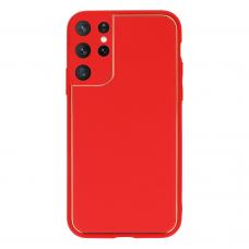 Samsung galaxy s21 ultra dėklas TEL Protect Luxury raudonas
