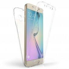 Samsung galaxy S6 dėklas dvipusis Silikoninis 360 TPU 0,3mm skaidrus
