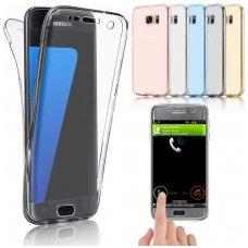 Samsung galaxy S6 Edge dėklas dvipusis Silikoninis 360 TPU 0,3mm skaidrus