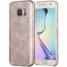 Samsung galaxy S6 EDGE PLUS dėklas X-LEVEL VINTAGE eko oda auksinis