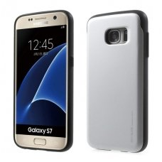 Samsung galaxy s7 dėklas MERCURY SKY SLIDE PC plastikas sidabrinis su vieta kortelei