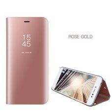 Samsung Galaxy S7 Edge atverčiamas dėklas Clear View veidrodiniu-permatomu dangteliu rožinis