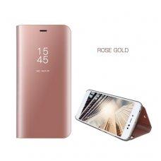 Iphone 7 plus atverčiamas dėklas Clear View veidrodiniu-permatomu dangteliu rožinis