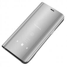 Akcija! Samsung Galaxy S8 atverčiamas dėklas Clear View veidrodiniu-permatomu dangteliu sidabrinis