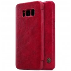 Samsung galaxy S8 atverčiamas dėklas nillkin QIN tikros natūralios odos raudonas