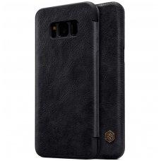 Samsung galaxy S8 Plus atverčiamas dėklas nillkin QIN tikros natūralios odos juodas