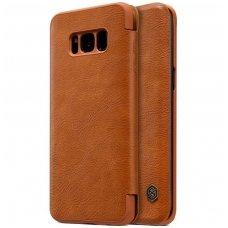 Samsung galaxy S8 Plus atverčiamas dėklas nillkin QIN tikros natūralios odos Rudas