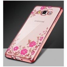samsung galaxy s8 plus dėklas 3d flower crystal flower silikonas rožinis
