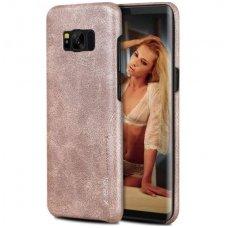 Samsung galaxy S8 Plus dėklas X-LEVEL VINTAGE eko oda smėlio spalvos