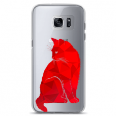 """Samsung Galaxy S7 edge TPU dėklas unikaliu dizainu 1.0 mm """"u-case Airskin Red Cat design"""""""
