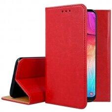 Akcija! Huawei P30 lite ATVERČIAMAS DĖKLAS BOOK SPECIAL TIKRA ODA raudonas