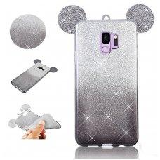 Samsung galaxy s9 dėklas Bling Mouse silikonas sidabrinis-juodas