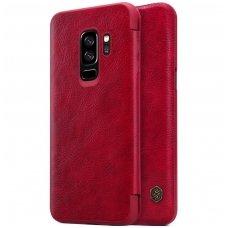 Samsung galaxy s9 plus atverčiamas dėklas nillkin QIN tikros natūralios odos raudonas