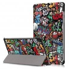 """Huawei MediaPad T3 (10) atverčiamas dėklas """"Smart Leather"""" eko oda graffiti"""