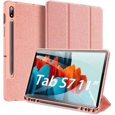 """Akcija! Samsung Galaxy Tab S7 atverčiamas dėklas """"Dux Ducis Domo"""" rožinis"""