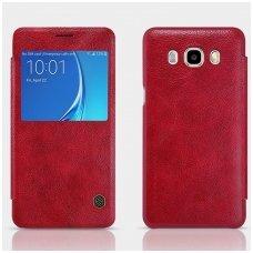 Samsung galaxy J7 2016 atverčiamas dėklas nillkin QIN tikros natūralios odos raudonas