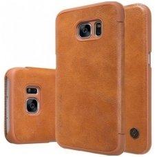 Samsung galaxy  NOTE 7 atverčiamas dėklas nillkin QIN tikros natūralios odos rudas