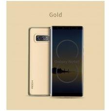 Samsung galaxy NOTE 8 atverčiamas dėklas rock DR.V auksinis su permatomu priekiniu dangteliu