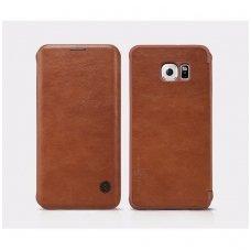 Samsung galaxy S6 EDGE PLUS atverčiamas dėklas nillkin QIN tikros natūralios odos Rudas