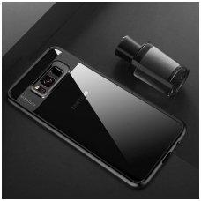 Samsung galaxy S8 dėklas rock Clarity skaidrus TPU IR PC PLASTIKAS juodais kraštais