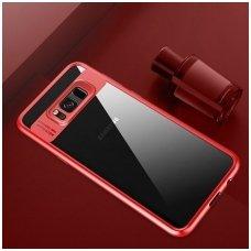 Samsung galaxy S8 dėklas rock Clarity skaidrus TPU IR PC PLASTIKAS raudonais kraštais