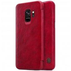 Samsung galaxy S9 atverčiamas dėklas nillkin QIN tikros natūralios odos raudonas