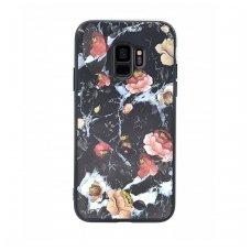"""Samsung S9 dėklas """"Flowers 11"""" TPU juodas"""