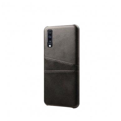 Samsung galaxy A70 dėklas Leather Card Case PU oda juodas