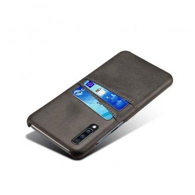 Samsung galaxy A70 dėklas Leather Card Case PU oda juodas 2