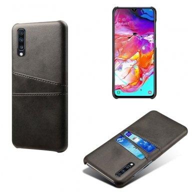 Samsung galaxy A70 dėklas Leather Card Case PU oda juodas 4