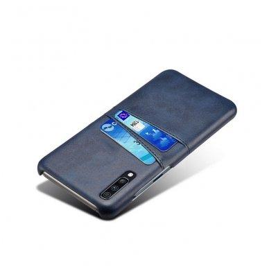 Samsung galaxy A70 dėklas Leather Card Case PU oda tamsiai mėlynas  3