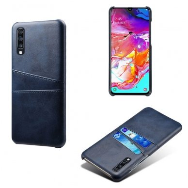 Samsung galaxy A70 dėklas Leather Card Case PU oda tamsiai mėlynas  4