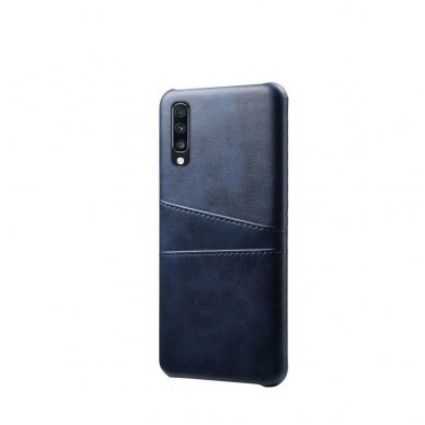 Samsung galaxy A70 dėklas Leather Card Case PU oda tamsiai mėlynas