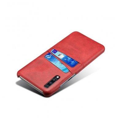 Samsung galaxy A70 dėklas Leather Card Case PU oda raudonas  3