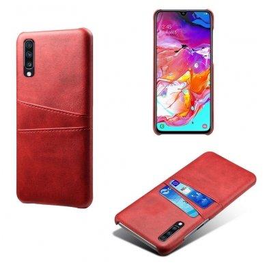 Samsung galaxy A70 dėklas Leather Card Case PU oda raudonas  4