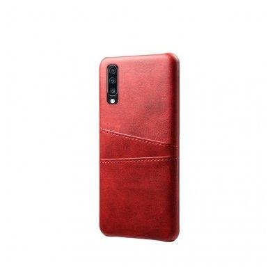 Samsung galaxy A70 dėklas Leather Card Case PU oda raudonas